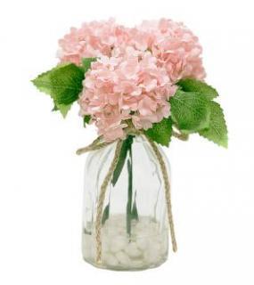 Гортензии Розовые В Стеклянной Вазе 13*13*20