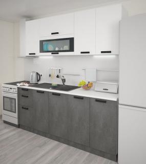 Кухня Фиджи 2М Белый/бетон