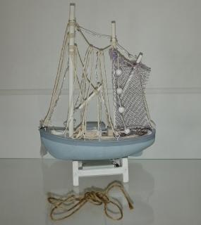 Сувенир Лодка С Led С Огнями Н28*19См Голубой
