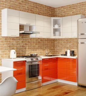 Кухня Мдф Угловая Соло 1,8*1,4 Белый/оранжевый